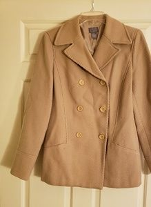 Double breasted lined sigrid olsen tan blazer
